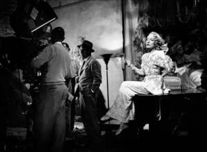 "Marlene Dietrich and Billy Wilder on the set of ""A Foreign Affair"" (1948)"